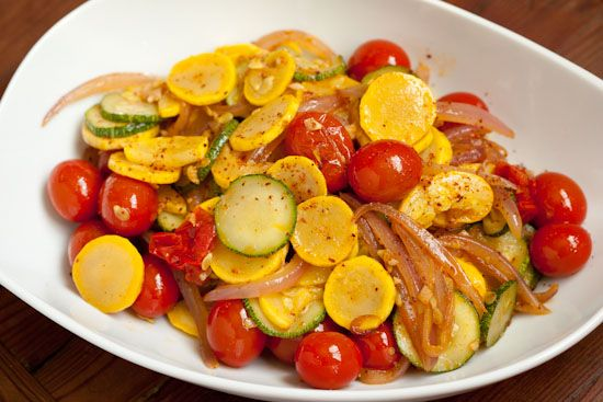 Summer Squash with Tomatoes and Aleppo Pepper #recipes #side_dish