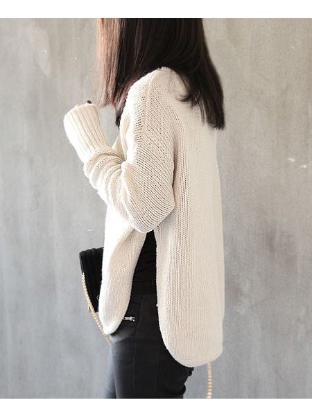 Curved Hem Nude Sweater With Split Flank | Choies