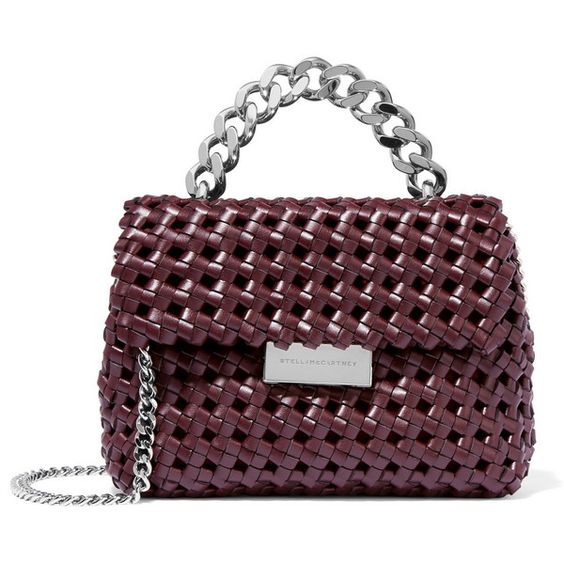 Stella McCartney Becks woven faux leather shoulder bag (76.500 RUB) ❤ liked on Polyvore featuring bags, handbags, shoulder bags, stella mccartney purse, woven handbags, purple purse, mini handbags and faux leather purses