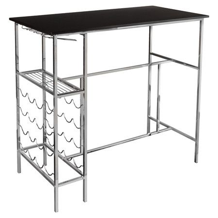 "Found it at Wayfair - Sophie Dining Table in Black and Chrome - $242 - Use as bar in DR, add glass shelf on top ""T"" bar"