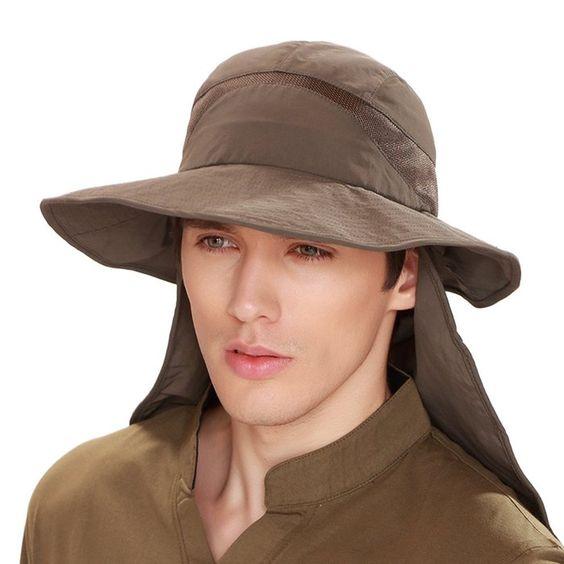 Kenmont hombres de verano masculina sombrero del cubo Uv exterior capitalización senderismo pescador (Marrón Gris)
