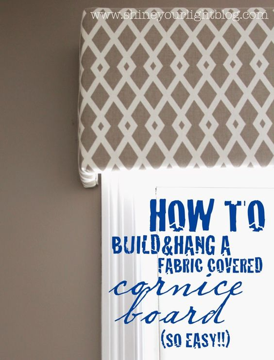Fabric Covered Cornice Board (u0026 How To Hang It | Cornice Boards, Powder  Room And Fabric Covered