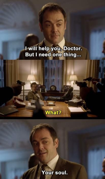 Doctor Who/Supernatural crossover squee. -- OMG HORRIFYING imagine Crowley with access to the power of a Time Lord's soul! Game over kids...