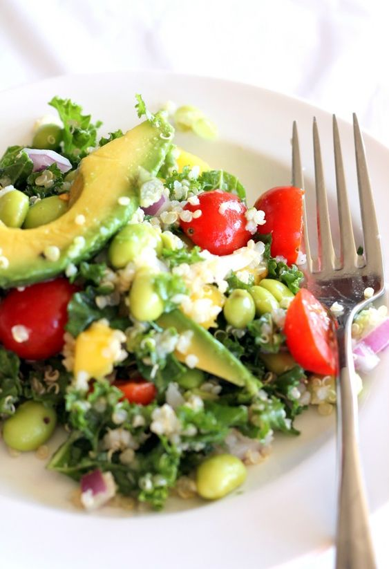 Kale, Edamame, and Quinoa Salad.     For lemon vinaigrette:      2 tablespoons olive oil      1/4 cup freshly squeezed lemon juice      1 garlic clove, minced      1 teaspoon sugar      1 large basil leaf, chopped      1/8 teaspoon salt      fresh ground pepper, to taste