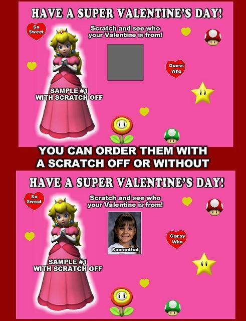 Princess Peach Scratch off Valentines Day Cards personalized – Valentines Cards Personalized