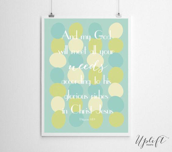 Philippians 4:19 - Mint/Boy - Christian Scripture Printable - 8x10 Digital Print by Uplift Prints