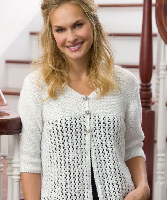 Lace Cardigan Knitting Pattern | Red Heart: