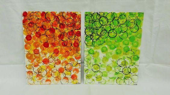 Dvojobraz N°1 (2x 30x40cm) / Zboží prodejce ProstěBižutka | Fler.cz Two picture, abstract painting and stamps of toilet rooler :D. Acryl stamps of rings. Dva obrazy, akrylová technika a otisk.