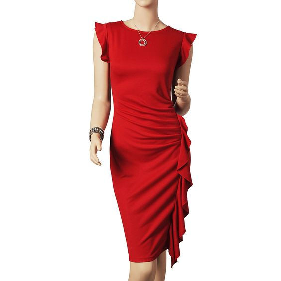 Womens Special Elegant Pouffant Sleeveless Macrame on Side Bodycon Pencil Dress Features: Intro: Sleeveless,Round-neck,Tunic,Knee-length Color: Black,Red Material: Rayon,Polyester,Spandex US SIZE: 4-12 www.apuremall.com