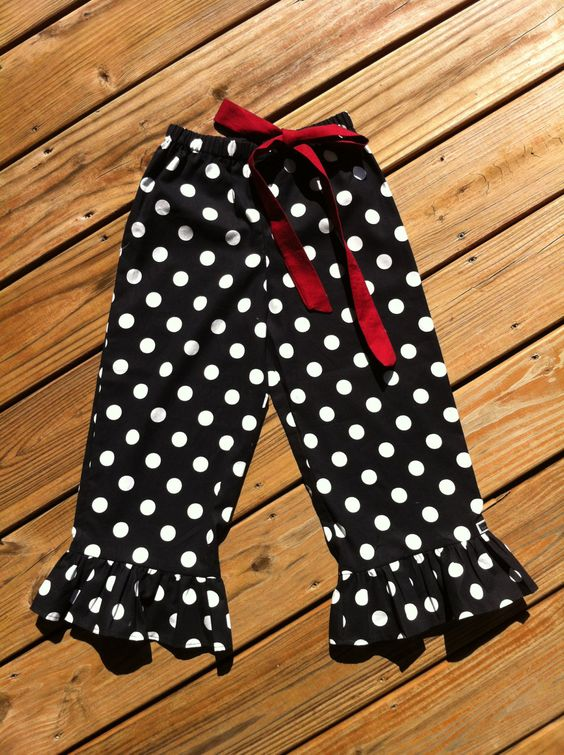 Girls Game Day Ruffle Pants, Capris, or Knee Short. Black White Polka Dot. Burgundy Maroon Bow. OR Any Team Colors. By EverythingSorella by EverythingSorella on Etsy