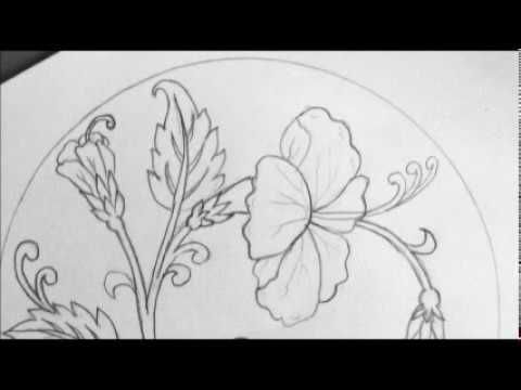 How To Draw A Hibiscus Flower Step By Step Very Easy Youtube Flower Line Drawings Hibiscus Drawing Peony Drawing