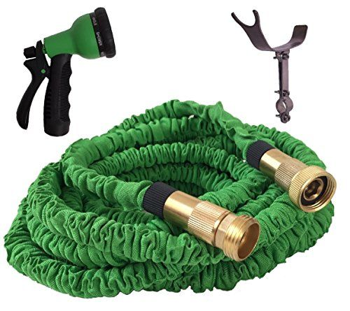 100 Foot Green Expanding Garden Hose Strongest Expandable Garden Hose Solid Brass Fittings Patented Stainless Steel Holder Double Garden Hose Brass Fittings Solid Brass