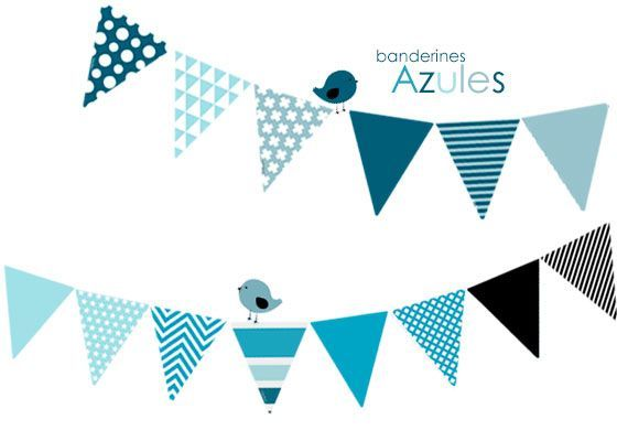 Img banderines de tela estampados azules one year - Banderines decorativos de tela ...