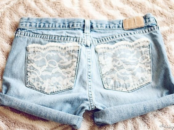DIY Lace Pocket Jeans