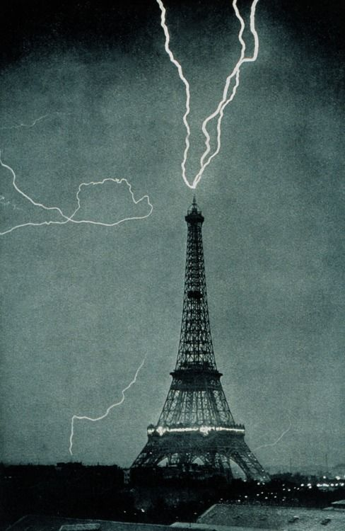 stability:  Eiffel tower gets struck with lightning, June 3, 1902