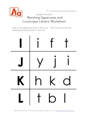 uppercase and lowercase letters worksheet i-l | Printable ...