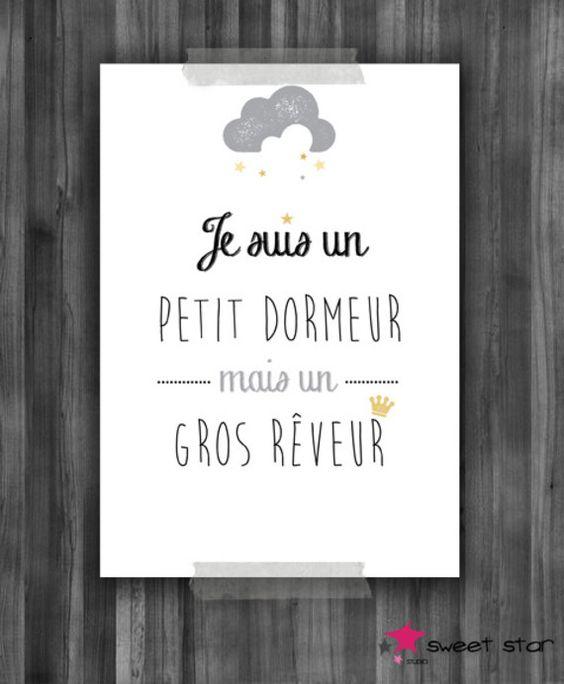 """Affiche A4 pour chambre d'enfant """"Petit Dormeur"""""""