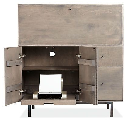 Hudson Modern Office Armoire With Wood Base   Modern File Storage   Modernu2026