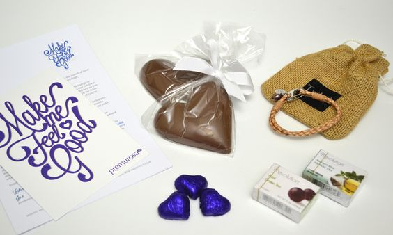 Our Make Me Feel Good gift for February had to include chocolate and hearts. The leather bracelet and Revolution teas were just a bonus! www.premurosa.com #subscriptiongiftsforwomen