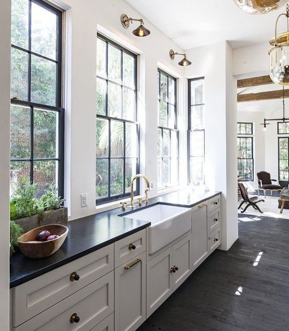 Gorgeous Kitchen With White Cabinets Black Countertops And Brass Gold Sconces Kitchen Kitchendesign Kitchen Design Home Decor Kitchen Kitchen Inspirations
