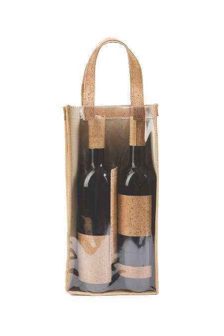Case for transport of wine bottles made of Natural Tree Cork
