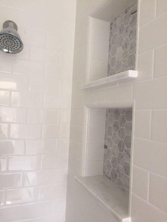 White Subway Tiles Built Ins And Tiles On Pinterest
