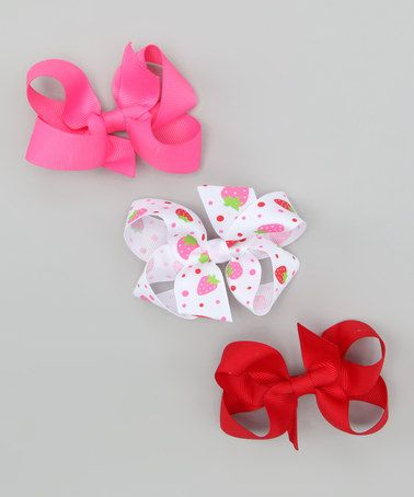 Take a look at this White Strawberry Clip Set by Hair Flair on #zulily today!