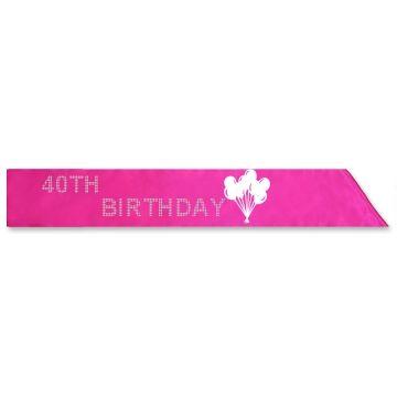 Pink 40TH Birthday Sash