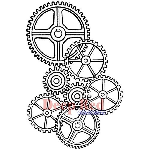 Deep Red Cling Stamp - Gears Background