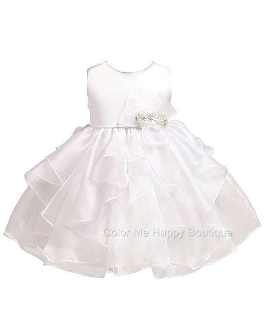 New Baby Girls sz 0-6m 12m 18m 24m White Dress Flower Wedding Christening USA