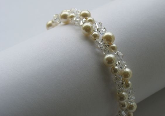 Pearl and crystal bracelet. Bridal, wedding, bridesmaids gift, party or prom.  Available through Etsy & Folksy via my website.