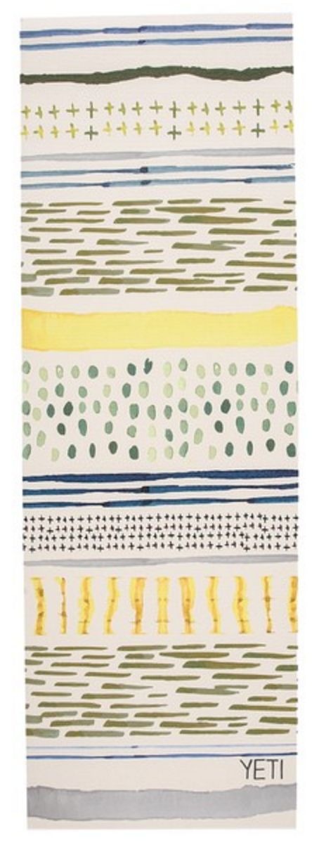 Watercolor stripes and dots printed yoga mat in yellow, green, and blue