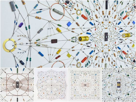 Leonardo Ulian is an Italian designer who specializes in making sculptures made from electronic and radio components soldered in large networks called mand