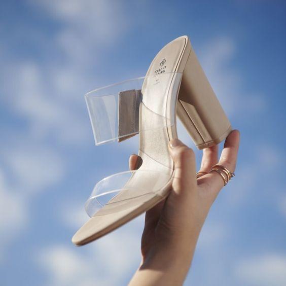 FALELIA bone   Vegan shoes, Block heels