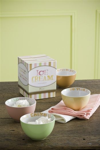 4 Small Bowls in Butterscotch, Yellow, Pink, and Mint  Features Well-Loved Ice Cream Flavors Around Each Rim      Comes Packaged in a Signature Gift Box  Measures 4.75 in X 2.75 in (in height) and 13 oz Microwave and Dishwasher Safe