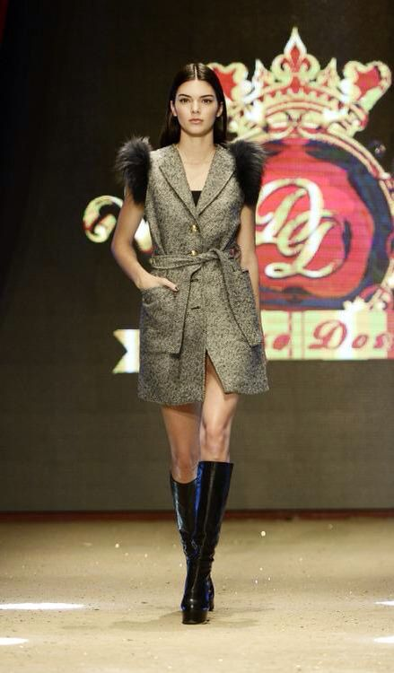 Kendall walking for Dosso Dossi fashion show.