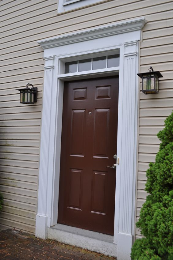 White House Door : Brown front door white trim tan house diy projects