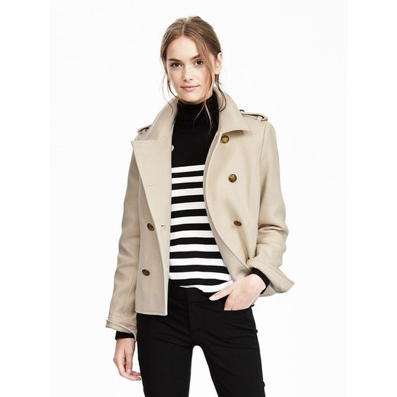 Banana Republic Womens Cropped Military Peacoat ($158) ❤ liked on