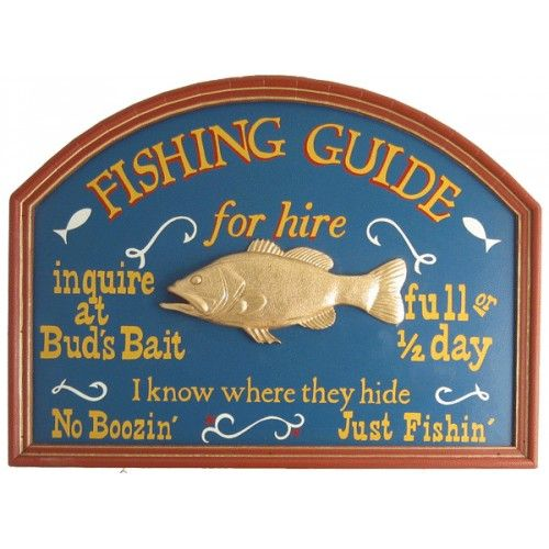 Fishing Guide Wood Sign