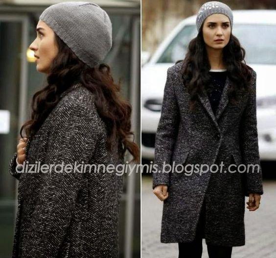 Kara Para Aşk - Elif (Tuba Büyüküstün), Grey Coat