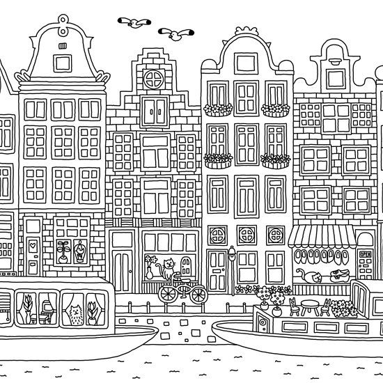 Amsterdam For Coloring With Images Amsterdam Printable Adult