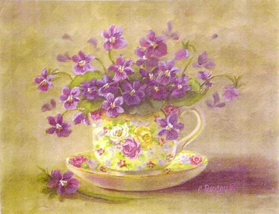 Pretty teacup of flowers: