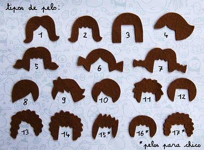 Diferentes formas de hacer el pelo para las caritas en fieltro.