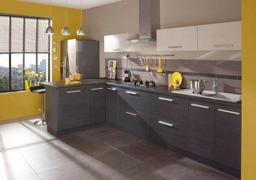 Armoires deux couleurs blanc gris m lang avec le jaune du mur wow salle d 39 attente for Cuisine blanc mur gris fonce
