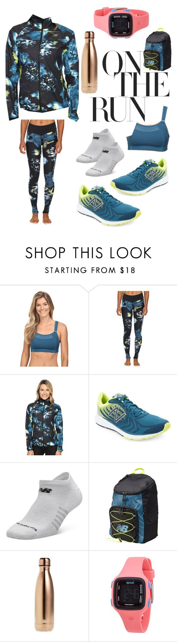 """""""Run the World in New Balance"""" by shawnice-hawkins ❤ liked on Polyvore featuring New Balance, S'well, Rip Curl and NewBalance"""