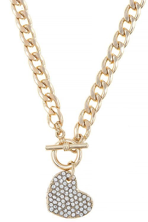 CRYSTAL ENCRUSTED HEART TOGGLE NECKLACE