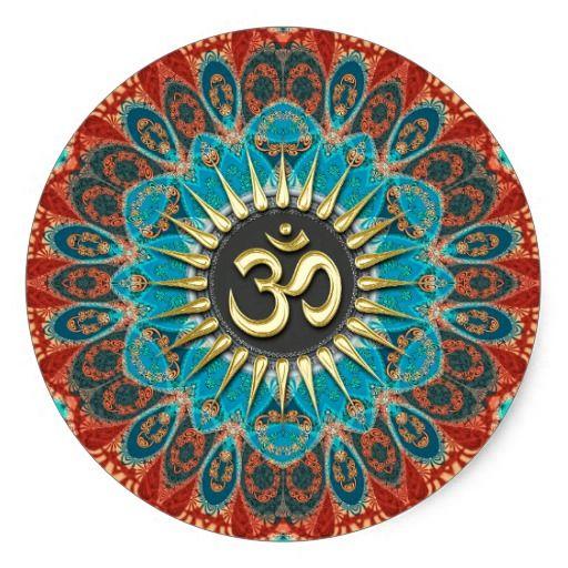 Om Aqua Red Earth Mandala Mindfulness Yoga Sticker