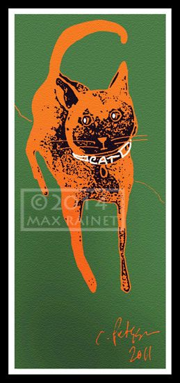 Orange Cat Stalks on Green Grass SIGNED FINE ART Print Digital Lithograph Kitty