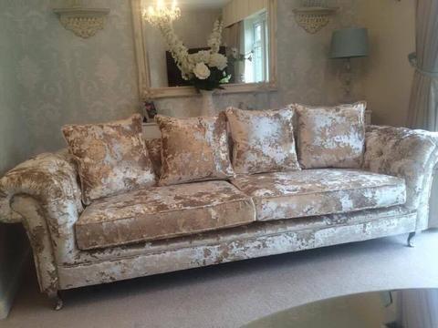 Champagne Crushed Velvet Sofa