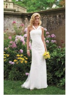 Garten|Outdoor Bodenlang Ärmellos Scheide|Spalte Spitze Schlichte Brautkleider
